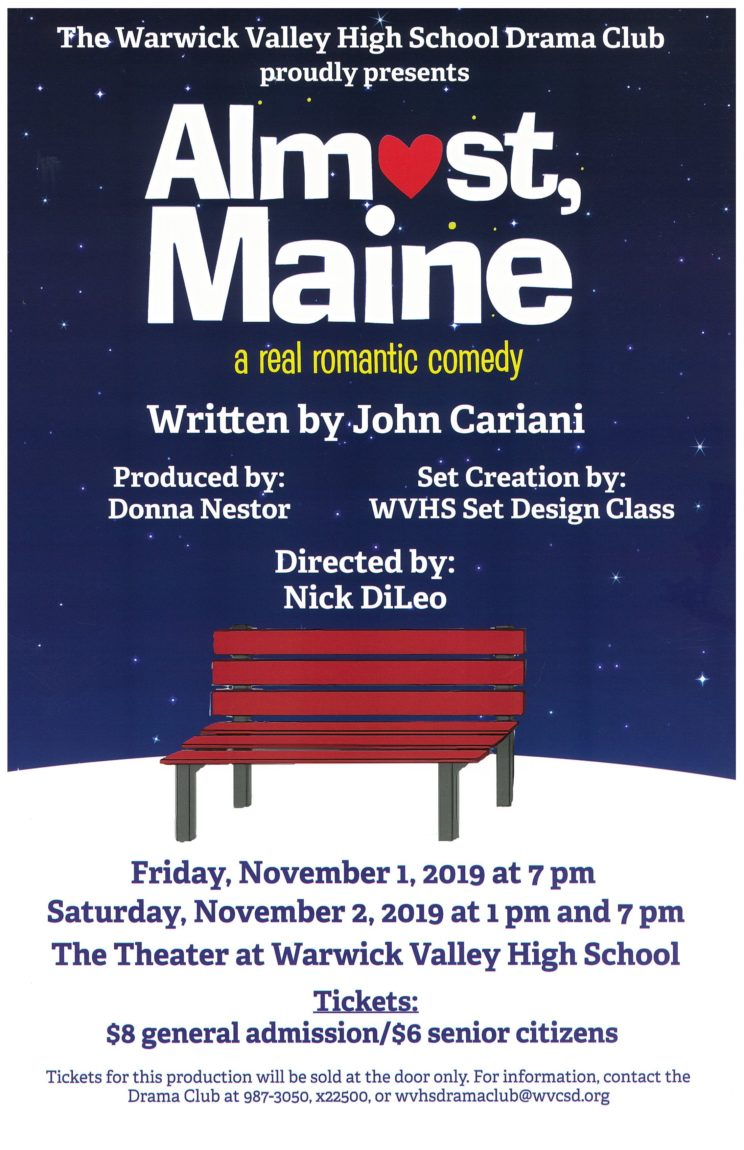 Almost Maine - WVHS Drama Club - Friday Nov 1st @7pm & Saturday Nov 2 @1pm & 7pm