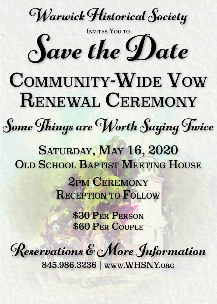 Historical Society Renewal Ceremony 5/16/2020 2:00 pm