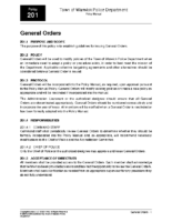 General Orders Policy 201