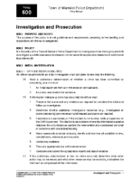 Investigation and Prosecution Policy 600