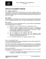 Retiree Concealed Firearms Policy 207