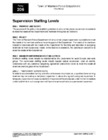 Supervision Staffing Levels Policy 206