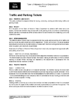 Traffic and Parking Tickets Policy 504