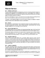 Warrant Service Policy 607
